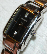 Fossil Women's Black Dial Square w/ Date Watch Stainless NEW BATTERY!
