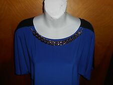 NWT Forever Jade Necklace Two-Tone Knit Top Ladies size L ~Classy~    stock#1711
