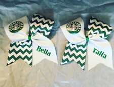 Starbucks PERSONALIZED Chevron Green/White Cheerleader cheer bow!!!!