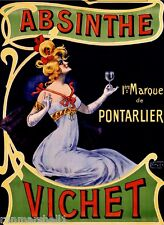 Absinthe Vichet Liqueur Advertisement Label Art Poster Print