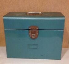 Vintage Excelsior Industrial Era TEAL Blue Metal File Document  Lock Box USA