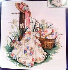 Paula Vaughan's PINK RIBBON Counted Cross Stitch Kit vintage quilts basket hat