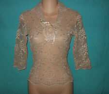 EXPRESS XS Vtg USA Beige Sheer Floral Lace Lace-Up Stretch Top Shirt Renaissance