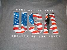 Home of Free because of the Brave Patriotic Gray T-shirt Men's Large 42-44 New