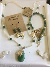 Handcrafted silver tone metal mesh necklace Green Jade MOP earrings bracelet set