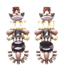 Allison-gold Arch Nude,Black & Grey Stone & Ombre Gem Statement Earrings(Zx188)