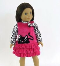 "Little black cat dress 18"" doll clothes fits American Girl AG"
