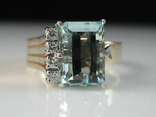 Aquamarine Diamond Ring Retro Mid Century Modern Rose Gold Estate Size 8