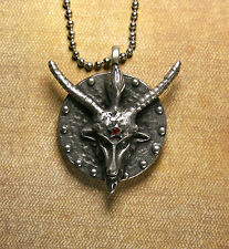 Baphomet Medallion Necklace - Red Rhinestone Mendes Pentagram on Back Pewter