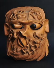Ancien masque de maladie Afrique Sculpture Antique Old African Mask Carved