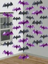 6 x Halloween Party Decorations Hanging Bat Strings Foil Dangling Bats