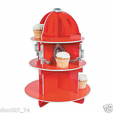 Party Decoration Fireman RED FIRE DEPT HYDRANT CUPCAKE Holder Centerpiece Stand