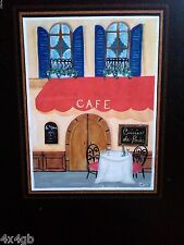 Painted French Cafe Hanging Chalkboard w/ Ciphering Art Chalk in Box