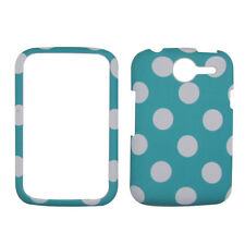 TURQUOISE POLKA DOT Pantech Renue P6030 AT&T rubberised Phone Cover Hard Case