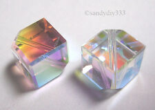 2x SWAROVSKI #5600 DIAGONAL CUBE CLEAR AB  8mm CRYSTAL