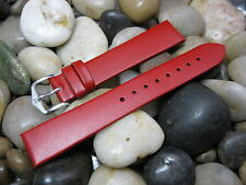 18mm Hirsch Lipstick Red Wild Calf Leather Flat Watch Band strap vintage Bauhaus