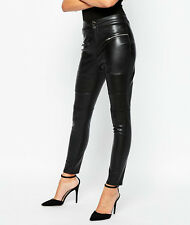 GENUINE SZ 10 LIPSY MICHELLE KEEGAN BLACK FAUX LEATHER ZIP UP LEGGINGS BNWT