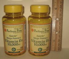 TWO, Vitamin D-3, Mega Potency (10000 IU), 200 softgels, from Puritan's Pride