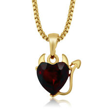 "Yellow Gold Color Devil Heart Pendant with Red Crystal and 16"" Box Chain"