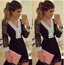 Sexy Fashion Women Long Sleeve V Neck High Waist Casual Mini Dress Black