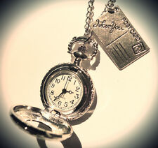 "Alice in Wonderland Pocket Watch -""I Love You"" Postcard Clock Necklace-Jewellery"