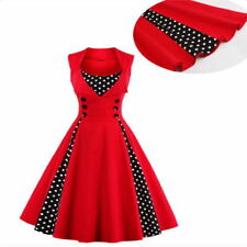 Women Vintage Dress 50s Swing Polka Dot Pinup Rockabilly Party Dresses Christma