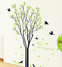 BIG Spring Green TREE With Bird WALL DECAL Art Sticker Mural Living room Decor