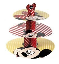 DISNEY MICKEY & MINNIE MOUSE 3 TIER CARDBOARD CUP CAKE STAND KIDS BIRTHDAY PARTY