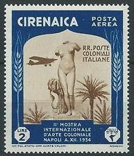 1934 CIRENAICA POSTA AEREA ARTE COLONIALE 2 LIRE MNH ** - G073