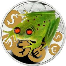 Niue 2015 $2 Money Frog Luck .999 1 Oz Proof Silver Coin with Amber Inserted
