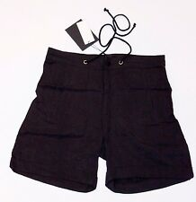 GESTUZ Drape LOOSE Tailored CUFFED Black DRAWSTRING Shorts HIP Pockets 36 $149