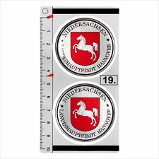 HANNOVER set of 2 German Number Plate Seal Stadt 3D Domed Sticker badge