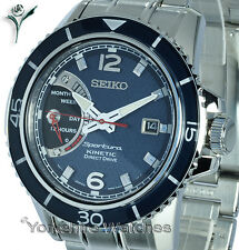 New Seiko Sportura Kinetic Direct Drive Con Brazalete De Acero Inoxidable srg017p1