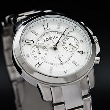 NEW in Box $145 FOSSIL Chronograph Gwynn Crystal Chronograph Watch Silver ES4036