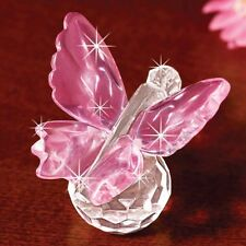 CRYSTAL Pink BUTTERFLY Sitting on Pedestal FIGURINE butterflies NEW In Box