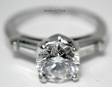 Ladies Diamond Ring 1.70 Carat Round Brilliant Platinum 4.5 GIA Certificate