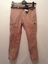 "BNWT "" Next "" Size 6 Brown Belted Cotton Casual Chino Trousers Ladies(34 EU)New"