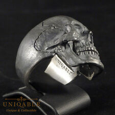 Spectacular Ring Skull 3 Size 12 Sterling Silver Biker Handcrafted Jewelry Man