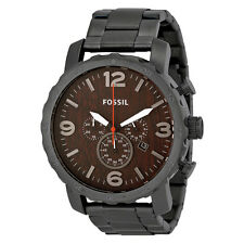 Fossil Nate Chronograph Wood Dial Stainless Steel Mens Watch JR1355