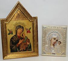 Lot of 2 RUSSIAN Orthodox Gold Enhanced Virgin of Kazan Religious Icons