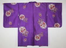 Japanese vintage meisen ikat silk haori coat Pattern of kaki(persimmon)