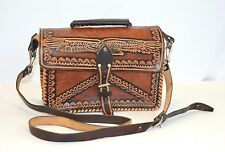 Vintage Hand Tooled Leather Purse Bag Brown & Black Eagle Design Whip Stitch