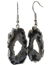 One (1) Pair CRYSTAL AGATE OCO GEODE EARRINGS *Silver Electroplate in Gift Box