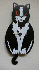 Wagging Tail Cat  Wall Clock for Cat Kitten Lovers Black/White Tuxedo Cat