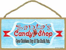 "Retro Style Santa's Candy Shop Christmas Holiday Sign Plaque 5""x10"""