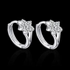 1Pair Ladies 925 Solid sterling Silver Zircon snowflake Ear stud Earrings HOT