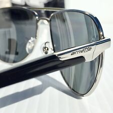NEW* Arnette AVIATOR One Time Silver BLACK POLARIZED Grey Lens Sunglass 3061-507