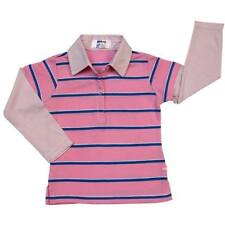 Girls Layered-Look Shirt with Collar Pink with Blue Stripe # 4 Size 10 y/o
