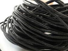 ★★★█▄☾☽▀█  LOT DE 3 mètres cordon cuir lacet cuir noir diam. 2,5 mm NEUF ★