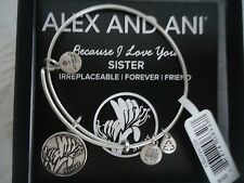 Authentic Alex and Ani SISTER Russian Silver Charm Bangle New W/Tag Card & Box